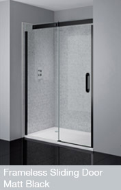 Frameless Sliding Door Matt Black