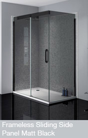 Frameless Sliding Door Side Panel Matt Black