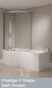 Prestige P Shape Bath Screen